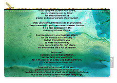 Desiderata 2 - Words Of Wisdom Carry-all Pouch by Sharon Cummings