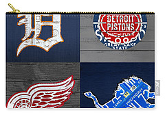 Detroit Sports Fan Recycled Vintage Michigan License Plate Art Tigers Pistons Red Wings Lions Carry-all Pouch by Design Turnpike