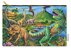 Dinosaur Scene Carry-all Pouch by Mark Gregory