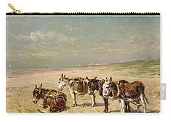 Donkeys On The Beach Carry-all Pouch by Johannes Hubertus Leonardus de Haas
