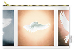 Dove In Flight Triptych Carry-all Pouch by YoPedro