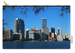 Downtown Miami Skyline Carry-all Pouch by Christiane Schulze Art And Photography