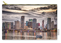 Downtown Miami Skyline In Hdr Carry-all Pouch by Rene Triay Photography