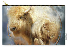 Dream Catcher - Spirit Of The White Buffalo Carry-all Pouch by Carol Cavalaris