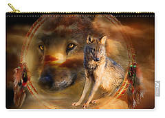 Dream Catcher - Wolfland Carry-all Pouch by Carol Cavalaris
