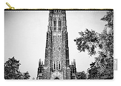 Duke Chapel In Black And White Carry-all Pouch by Emily Kay
