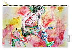 Eddie Van Halen Playing And Jumping Watercolor Portrait Carry-all Pouch by Fabrizio Cassetta