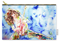 Eddie Van Halen Playing The Guitar.1 Watercolor Portrait Carry-all Pouch by Fabrizio Cassetta
