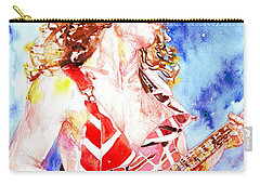 Eddie Van Halen Playing The Guitar.2 Watercolor Portrait Carry-all Pouch by Fabrizio Cassetta
