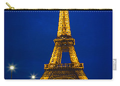 Eiffel Tower By Night Carry-all Pouch by Inge Johnsson