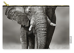 Elephant Approach From The Front Carry-all Pouch by Johan Swanepoel