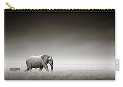 Elephant With Zebra Carry-all Pouch by Johan Swanepoel