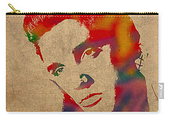 Elvis Presley Watercolor Portrait On Worn Distressed Canvas Carry-all Pouch by Design Turnpike