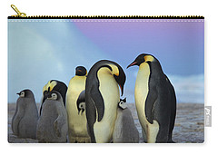 Emperor Penguin Parents And Chick Carry-all Pouch by Frederique Olivier