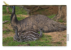 Emu And Chicks Carry-all Pouch by Chris Flees