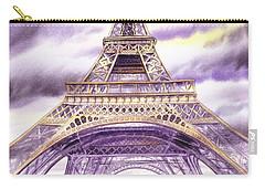 Evening In Paris A Walk To The Eiffel Tower Carry-all Pouch by Irina Sztukowski