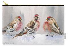 Snowy Birds - Eyeing The Feeder 2 Alaskan Redpolls In Winter Scene Carry-all Pouch by Karen Whitworth