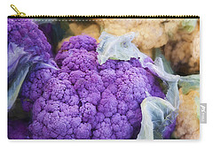 Farmers Market Purple Cauliflower Square Carry-all Pouch by Carol Leigh