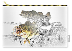 Feeding Largemouth Black Bass Carry-all Pouch by Randall Nyhof