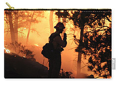 Carry-all Pouch featuring the photograph Firefighter At Night On The White Draw Fire by Bill Gabbert