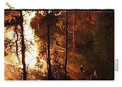 Carry-all Pouch featuring the photograph Firefighters Burn Out On The White Draw Fire by Bill Gabbert