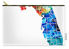 Florida - Map By Counties Sharon Cummings Art Carry-all Pouch by Sharon Cummings