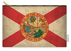 Florida State Flag Art On Worn Canvas Carry-all Pouch by Design Turnpike