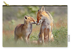 Fox Felicity - Mother And Fox Kit Showing Love And Affection Carry-all Pouch by Roeselien Raimond