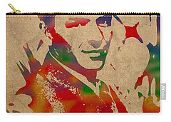 Frank Sinatra Watercolor Portrait On Worn Distressed Canvas Carry-all Pouch by Design Turnpike