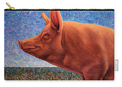 Free Range Pig Carry-all Pouch by James W Johnson