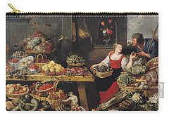 Fruit And Vegetable Market Oil On Canvas Carry-all Pouch by Frans Snyders