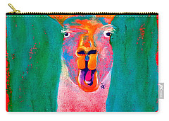 Funky Llama Art Print Carry-all Pouch by Sue Jacobi