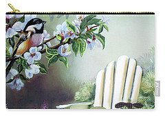 Chickadees In Blossom Tree Carry-all Pouch by Regina Femrite