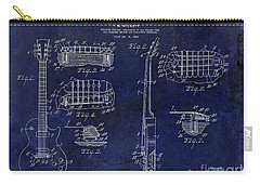 Gibson Les Paul Patent Drawing Blue Carry-all Pouch by Jon Neidert