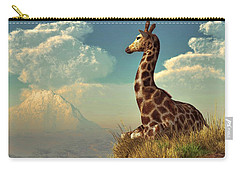 Giraffe And Distant Mountain Carry-all Pouch by Daniel Eskridge