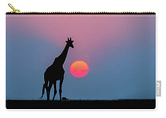 Giraffe At Sunset Chobe Np Botswana Carry-all Pouch by Andrew Schoeman