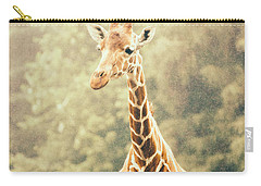Giraffe In The Rain Carry-all Pouch by Pati Photography