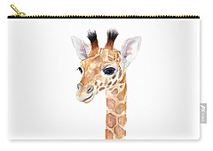 Giraffe Watercolor Carry-all Pouch by Olga Shvartsur