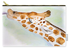 Giraffe With Tongue Out Carry-all Pouch by Pati Photography