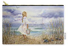 Girl At The Ocean Carry-all Pouch by Irina Sztukowski