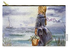 Girl And The Ocean Carry-all Pouch by Irina Sztukowski