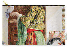 Girl With Two Caged Doves, Cairo, 1864 Carry-all Pouch by John Frederick Lewis