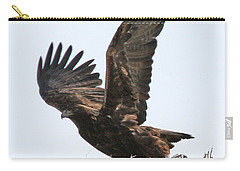 Carry-all Pouch featuring the photograph Golden Eagle Takes Off by Bill Gabbert