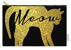 Golden Glitter Cat - Meow Carry-all Pouch by Pati Photography