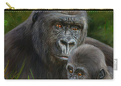 Gorilla And Baby Carry-all Pouch by David Stribbling