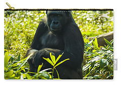 Gorilla Sitting On A Stump Carry-all Pouch by Chris Flees