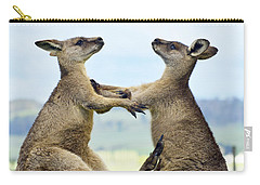 Grey Kangaroo  Males Fighting Tasmania Carry-all Pouch by David Parer and Elizabeth Parer Cook