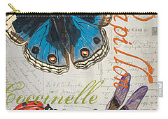 Grey Postcard Butterflies 4 Carry-all Pouch by Debbie DeWitt