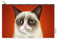 Grumpy Cat Carry-all Pouch by Olga Shvartsur