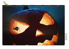Halloween Pumpkin And Spiders Carry-all Pouch by Johan Swanepoel